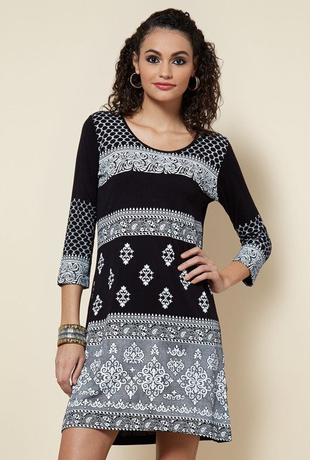 Zudio Black Printed Dress