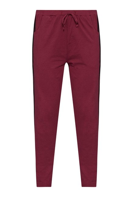 Westsport Womens Maroon Solid Track Pant