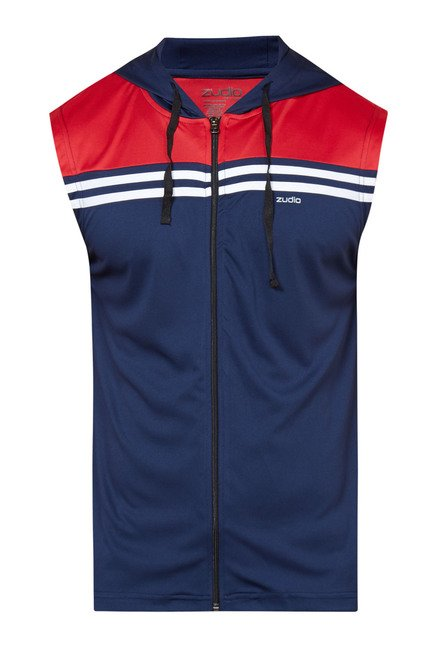 Zudio Navy & Red Striped Hoodie