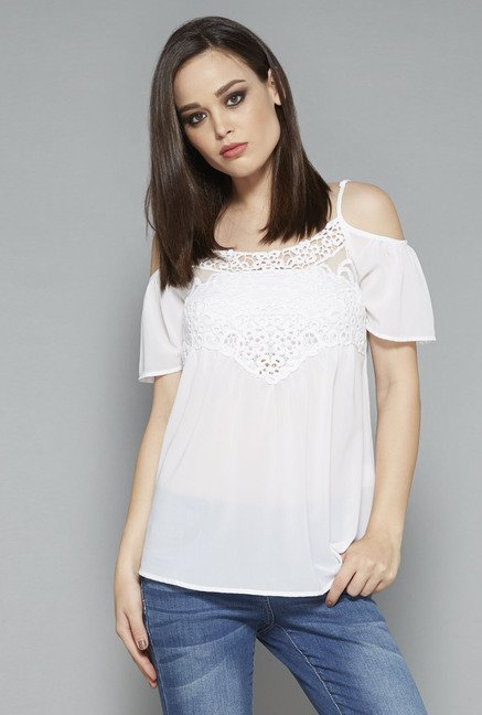 Nuon White Solid Scoop Neck Blouse