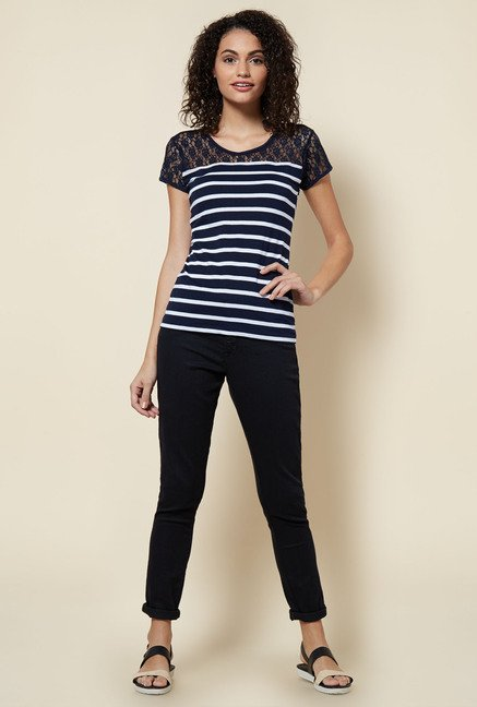 Zudio Navy Striped Lacy Top