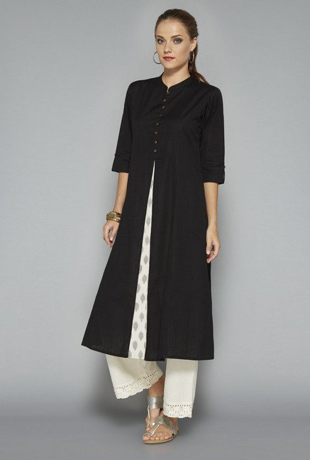 Utsa Black Solid Kurta