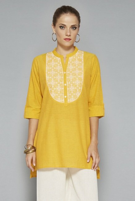 Utsa Yellow Embroidered Kurti
