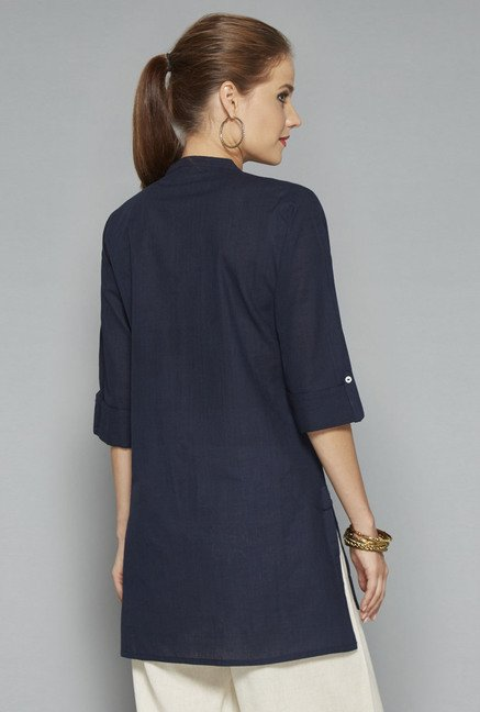 Utsa Navy Embroidered Kurti