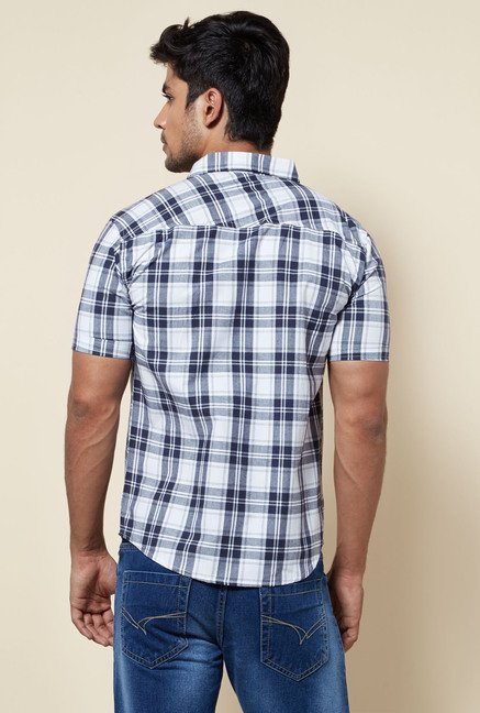 Zudio White Checks Cotton Shirt