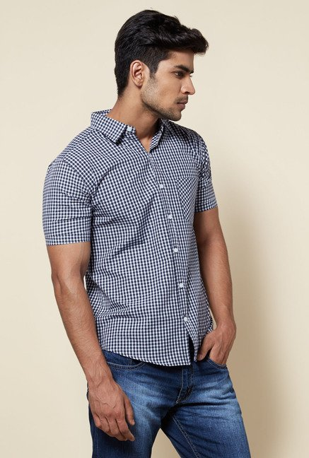 Zudio Navy & White Checks Shirt