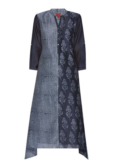 Zuba Black Floral Printed Cotton Kurta