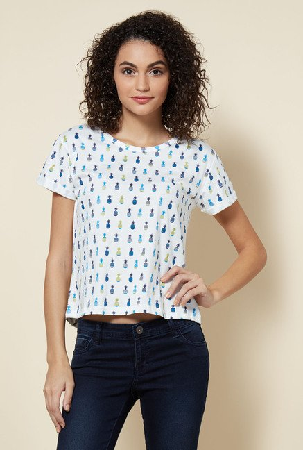 Zudio White Printed Pine T Shirt