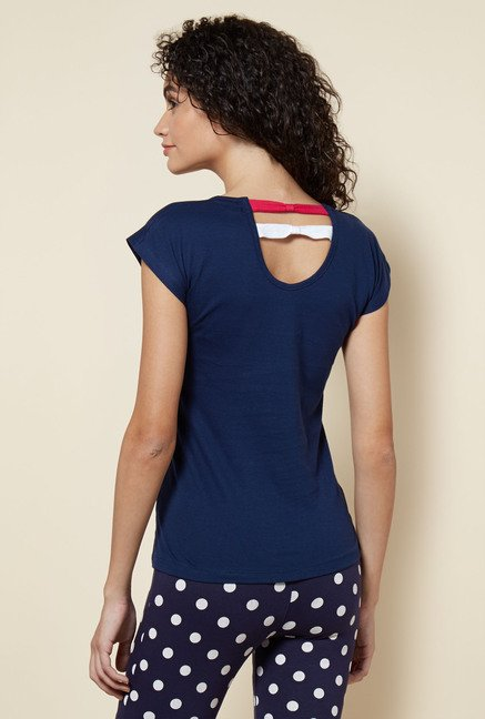 Zudio Navy Printed Joy T Shirt