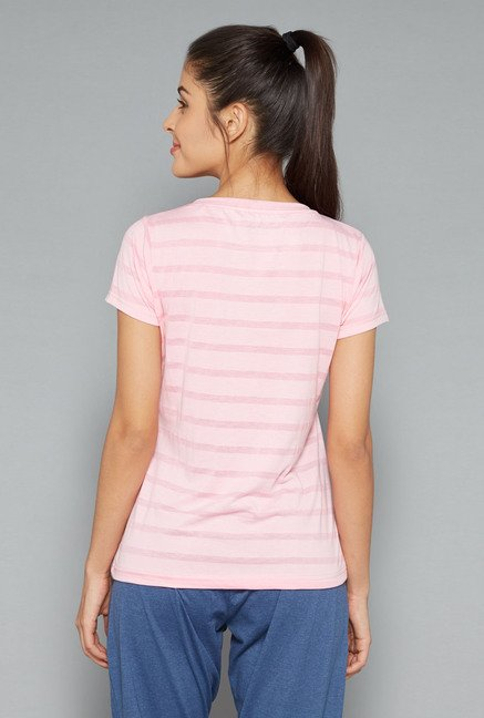Westsport Womens Light Pink Striped T Shirt