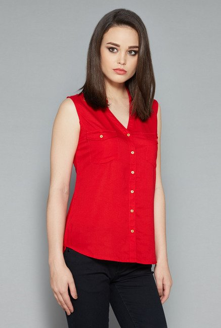 Nuon Red Solid Top