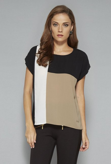 Wardrobe Black & Khaki Amy Blouse