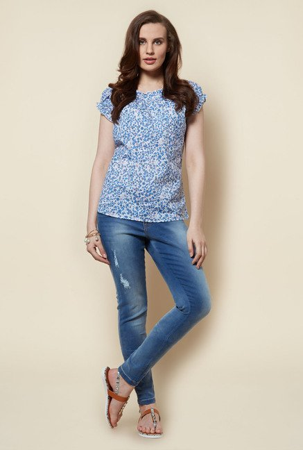 Zudio White Floral Printed Peppy Blouse