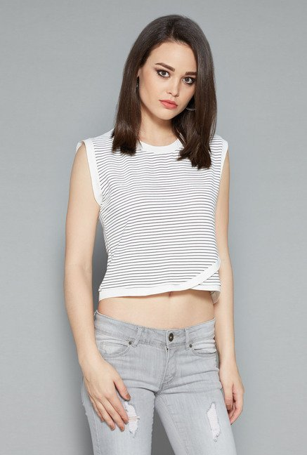 Nuon White Tally Crop Top