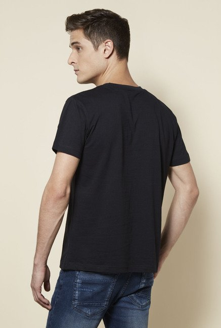 Zudio Black Printed T Shirt