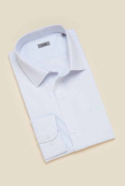 Zudio White Regular Fit Checks Shirt