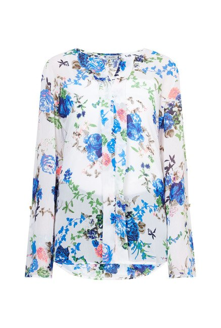 Zudio White Floral Printed Macy Blouse