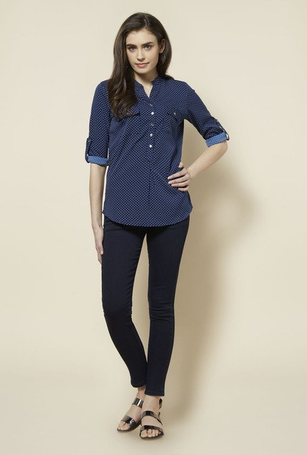 Zudio Navy Polka Dot Topsy Blouse