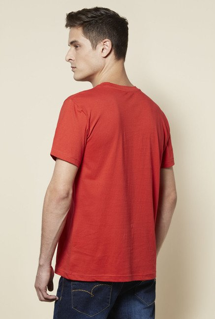 Zudio Coral Printed Cotton T Shirt