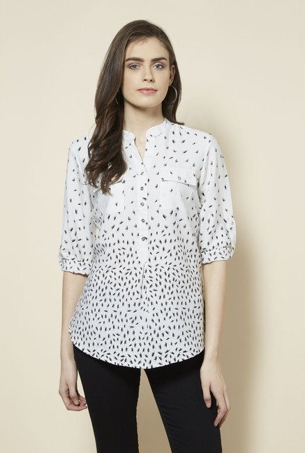 Zudio White Printed Topsy Blouse