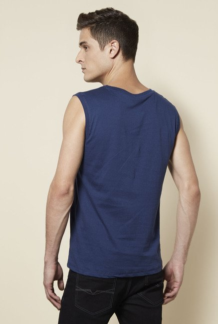 Zudio Navy Printed T Shirt