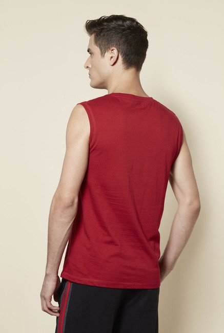 Zudio Red Cotton Printed T Shirt