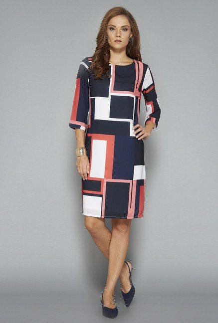 Wardrobe Navy Printed Dress