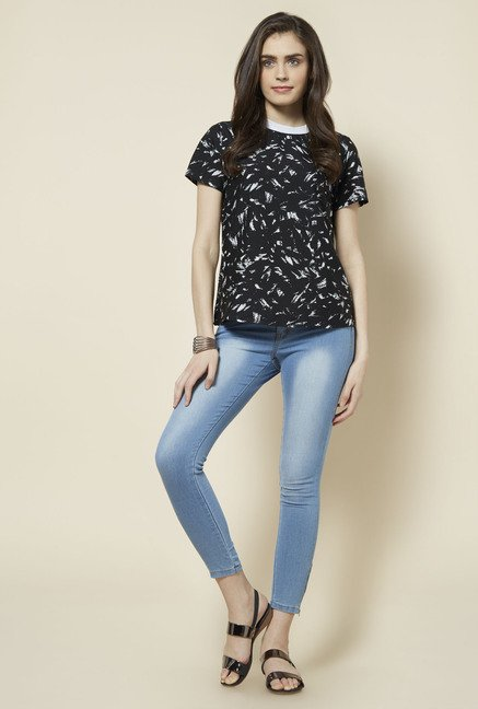 Zudio Black Printed Rhea Blouse