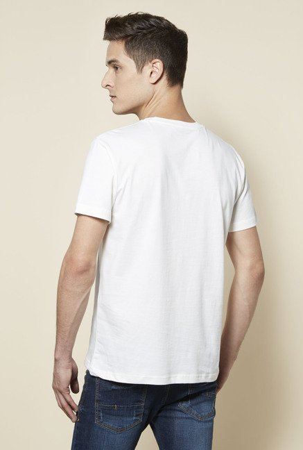 Zudio White Cotton T Shirt