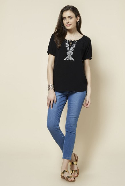 Zudio Black Embroidered Lana Blouse