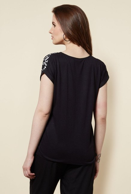 Zudio Black Printed Dora Top