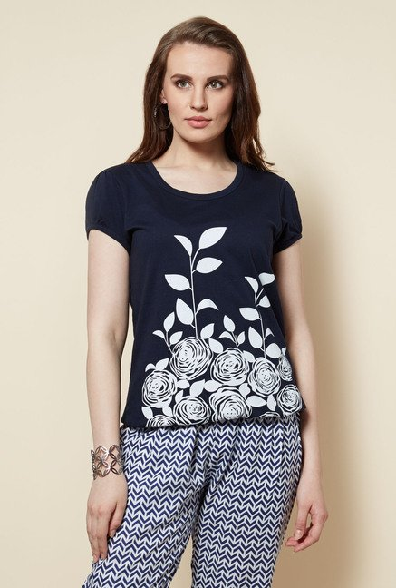 Zudio Navy Floral Printed T Shirt