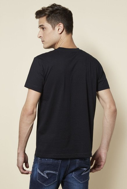 Zudio Black Printed Cotton T Shirt