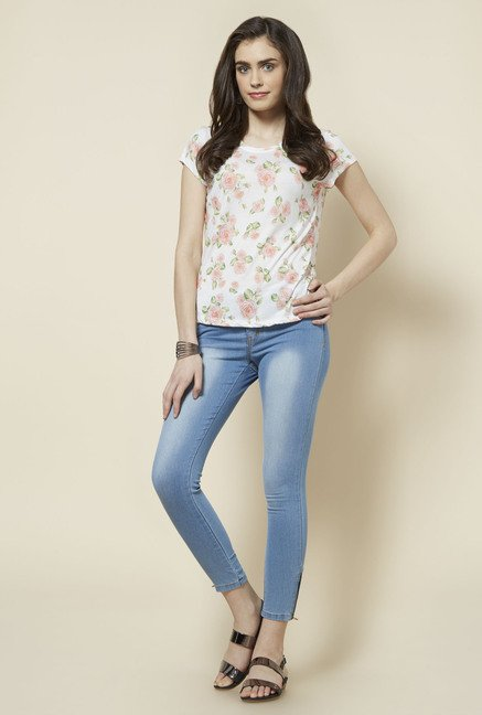 Zudio White Floral Printed Gia Top