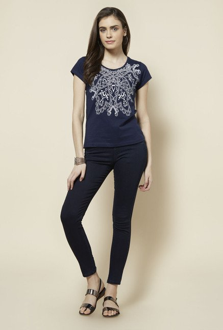 Zudio Navy Printed Top