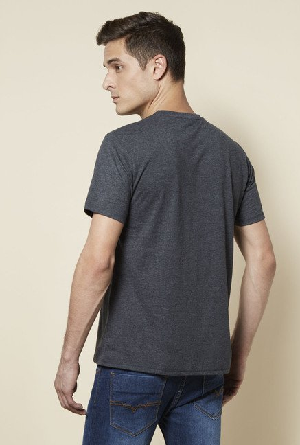 Zudio Grey Printed Crew Neck T Shirt