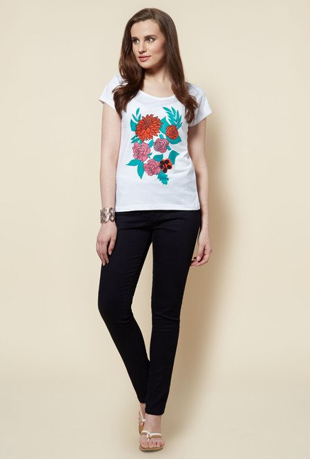 Zudio White Floral Printed Rose T Shirt
