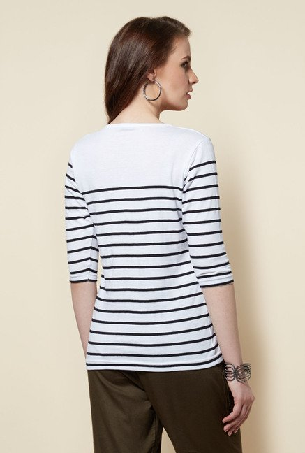 Zudio White Striped Zoe T Shirt