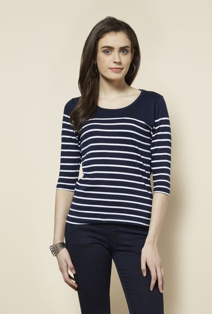 Zudio Navy Striped Zoe Top