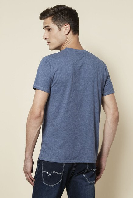 Zudio Indigo Printed Crew Neck T Shirt