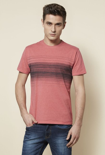 Zudio Coral Crew Neck T Shirt