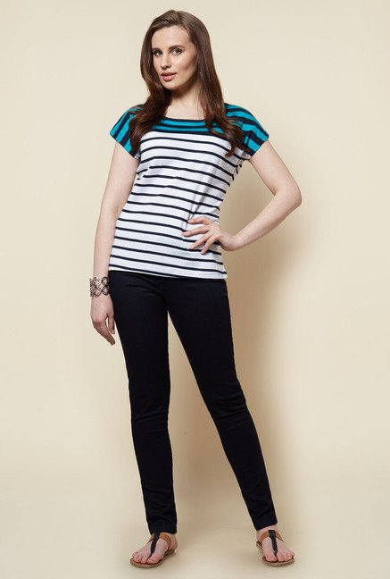 Zudio White Striped Zina T Shirt