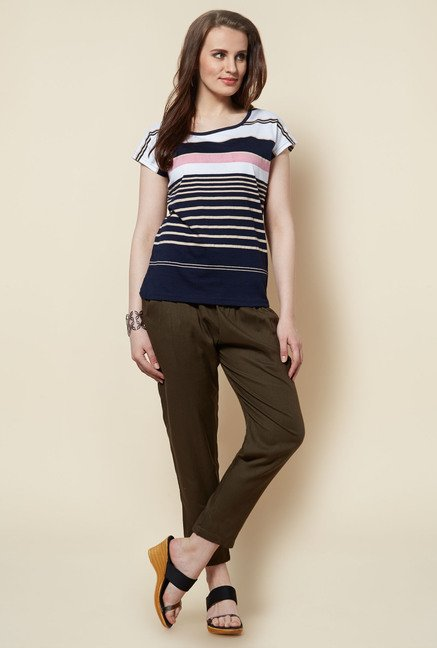 Zudio Navy Striped Bobby T Shirt