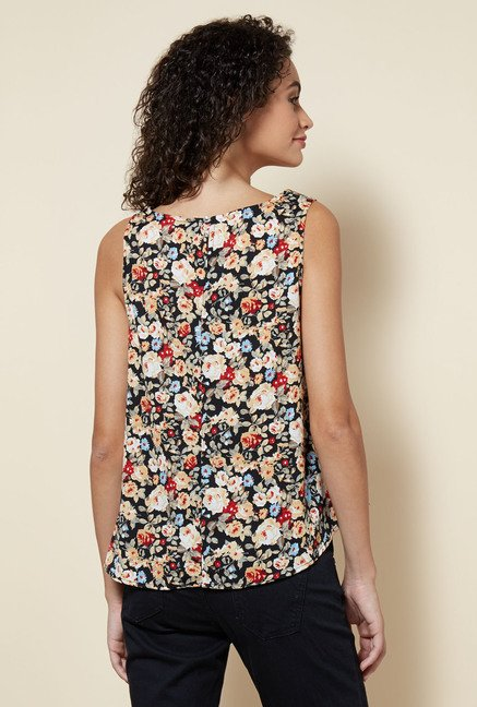 Zudio Black Floral Printed Robin Blouse