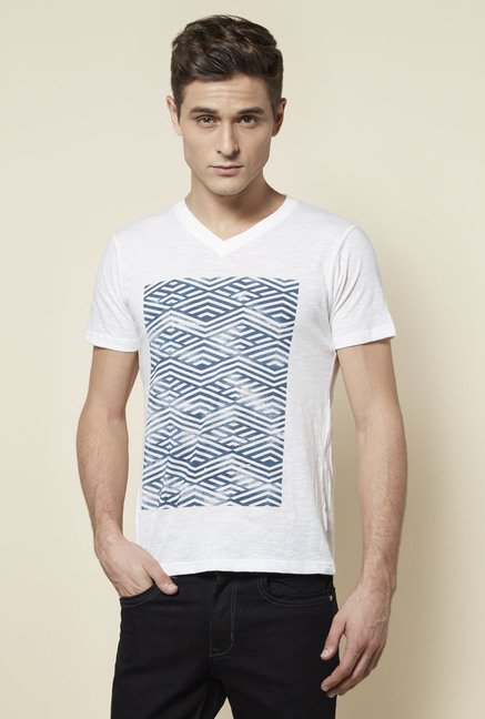 Zudio White Slim Fit T Shirt