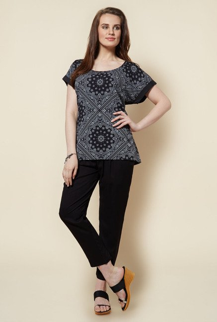 Zudio Black Paisley Printed T Shirt