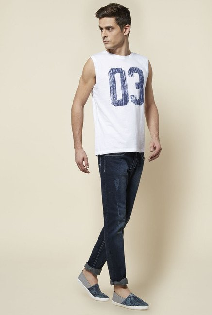 Zudio White Printed Slim Fit T Shirt