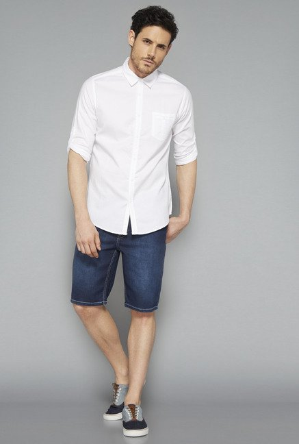 Nuon White Solid Slim Fit Shirt