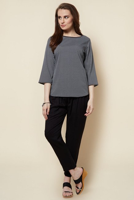 Zudio Black Printed Alba Blouse