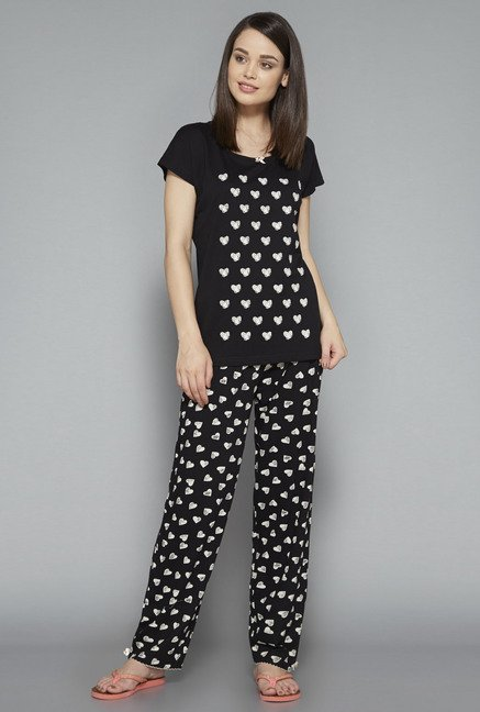 Intima Black Printed Pyjama Set